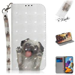 Pug Dog 3D Painted Leather Wallet Phone Case for Samsung Galaxy A21