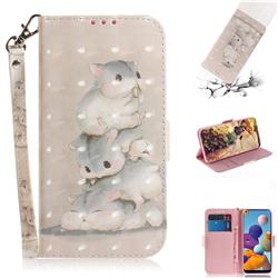 Three Squirrels 3D Painted Leather Wallet Phone Case for Samsung Galaxy A21
