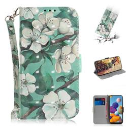 Watercolor Flower 3D Painted Leather Wallet Phone Case for Samsung Galaxy A21