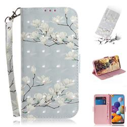 Magnolia Flower 3D Painted Leather Wallet Phone Case for Samsung Galaxy A21