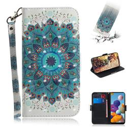 Peacock Mandala 3D Painted Leather Wallet Phone Case for Samsung Galaxy A21