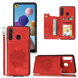 Luxury Mandala Multi-function Magnetic Card Slots Stand Leather Back Cover for Samsung Galaxy A21 - Red