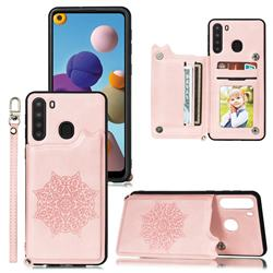 Luxury Mandala Multi-function Magnetic Card Slots Stand Leather Back Cover for Samsung Galaxy A21 - Rose Gold