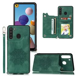 Luxury Mandala Multi-function Magnetic Card Slots Stand Leather Back Cover for Samsung Galaxy A21 - Green