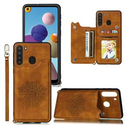 Luxury Mandala Multi-function Magnetic Card Slots Stand Leather Back Cover for Samsung Galaxy A21 - Brown