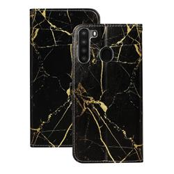 Black Gold Marble PU Leather Wallet Case for Samsung Galaxy A21