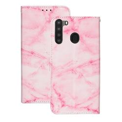 Pink Marble PU Leather Wallet Case for Samsung Galaxy A21
