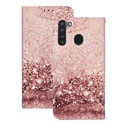 Glittering Rose Gold PU Leather Wallet Case for Samsung Galaxy A21