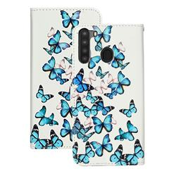 Blue Vivid Butterflies PU Leather Wallet Case for Samsung Galaxy A21