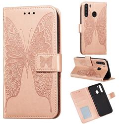 Intricate Embossing Vivid Butterfly Leather Wallet Case for Samsung Galaxy A21 - Rose Gold
