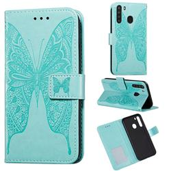 Intricate Embossing Vivid Butterfly Leather Wallet Case for Samsung Galaxy A21 - Green
