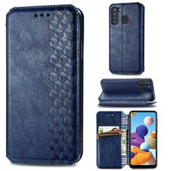 Ultra Slim Fashion Business Card Magnetic Automatic Suction Leather Flip Cover for Samsung Galaxy A21 - Dark Blue