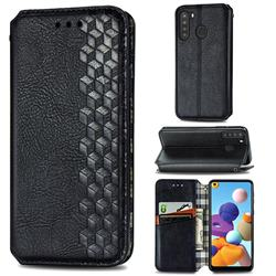 Ultra Slim Fashion Business Card Magnetic Automatic Suction Leather Flip Cover for Samsung Galaxy A21 - Black