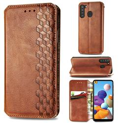 Ultra Slim Fashion Business Card Magnetic Automatic Suction Leather Flip Cover for Samsung Galaxy A21 - Brown