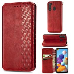 Ultra Slim Fashion Business Card Magnetic Automatic Suction Leather Flip Cover for Samsung Galaxy A21 - Red