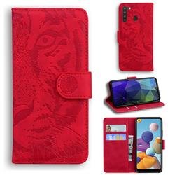 Intricate Embossing Tiger Face Leather Wallet Case for Samsung Galaxy A21 - Red