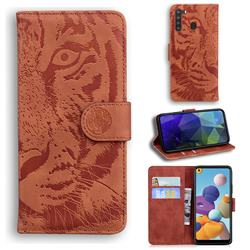 Intricate Embossing Tiger Face Leather Wallet Case for Samsung Galaxy A21 - Brown