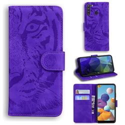 Intricate Embossing Tiger Face Leather Wallet Case for Samsung Galaxy A21 - Purple