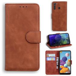 Retro Classic Skin Feel Leather Wallet Phone Case for Samsung Galaxy A21 - Brown