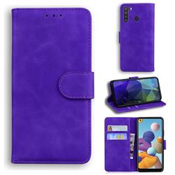 Retro Classic Skin Feel Leather Wallet Phone Case for Samsung Galaxy A21 - Purple