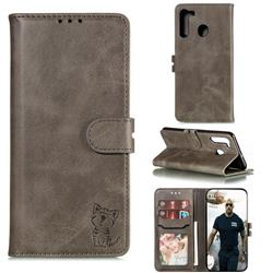 Embossing Happy Cat Leather Wallet Case for Samsung Galaxy A21 - Gray