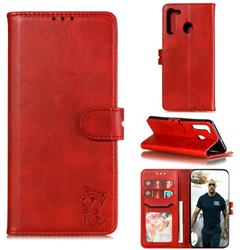 Embossing Happy Cat Leather Wallet Case for Samsung Galaxy A21 - Red