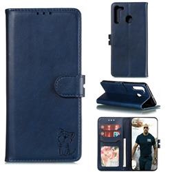 Embossing Happy Cat Leather Wallet Case for Samsung Galaxy A21 - Blue