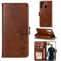 Embossing Happy Cat Leather Wallet Case for Samsung Galaxy A21 - Brown