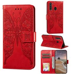 Intricate Embossing Rose Flower Butterfly Leather Wallet Case for Samsung Galaxy A21 - Red