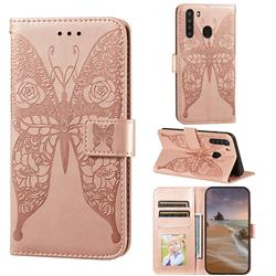 Intricate Embossing Rose Flower Butterfly Leather Wallet Case for Samsung Galaxy A21 - Rose Gold