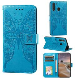 Intricate Embossing Rose Flower Butterfly Leather Wallet Case for Samsung Galaxy A21 - Blue