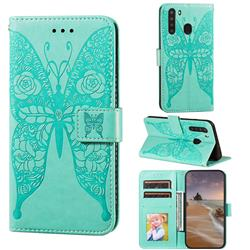 Intricate Embossing Rose Flower Butterfly Leather Wallet Case for Samsung Galaxy A21 - Green