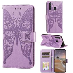 Intricate Embossing Rose Flower Butterfly Leather Wallet Case for Samsung Galaxy A21 - Purple