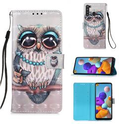 Sweet Gray Owl 3D Painted Leather Wallet Case for Samsung Galaxy A21