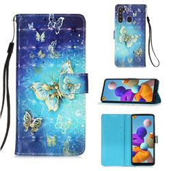 Gold Butterfly 3D Painted Leather Wallet Case for Samsung Galaxy A21