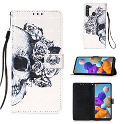 Skull Flower 3D Painted Leather Wallet Case for Samsung Galaxy A21