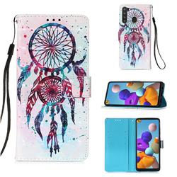 ColorDrops Wind Chimes 3D Painted Leather Wallet Case for Samsung Galaxy A21