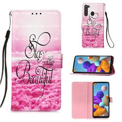 Beautiful 3D Painted Leather Wallet Case for Samsung Galaxy A21