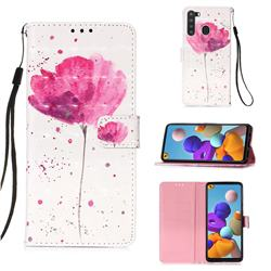 Watercolor 3D Painted Leather Wallet Case for Samsung Galaxy A21