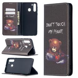 Chainsaw Bear Slim Magnetic Attraction Wallet Flip Cover for Samsung Galaxy A21