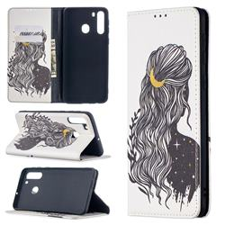 Girl with Long Hair Slim Magnetic Attraction Wallet Flip Cover for Samsung Galaxy A21