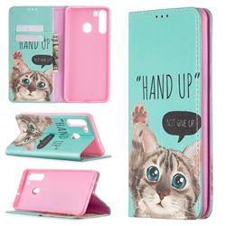 Hand Up Cat Slim Magnetic Attraction Wallet Flip Cover for Samsung Galaxy A21