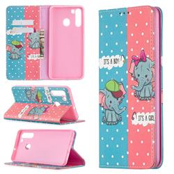 Elephant Boy and Girl Slim Magnetic Attraction Wallet Flip Cover for Samsung Galaxy A21