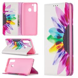 Sun Flower Slim Magnetic Attraction Wallet Flip Cover for Samsung Galaxy A21