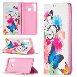 Flying Butterflies Slim Magnetic Attraction Wallet Flip Cover for Samsung Galaxy A21