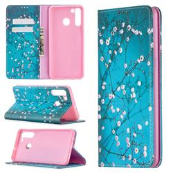 Plum Blossom Slim Magnetic Attraction Wallet Flip Cover for Samsung Galaxy A21