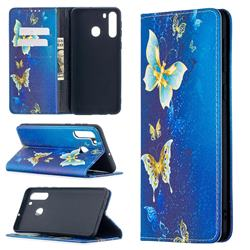Gold Butterfly Slim Magnetic Attraction Wallet Flip Cover for Samsung Galaxy A21