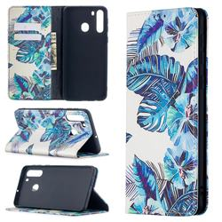 Blue Leaf Slim Magnetic Attraction Wallet Flip Cover for Samsung Galaxy A21