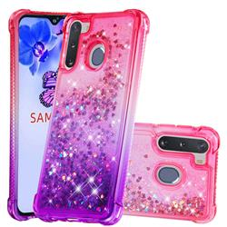 Rainbow Gradient Liquid Glitter Quicksand Sequins Phone Case for Samsung Galaxy A21 - Pink Purple