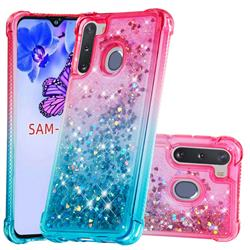 Rainbow Gradient Liquid Glitter Quicksand Sequins Phone Case for Samsung Galaxy A21 - Pink Blue